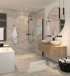 7 Amazing Bathroom Design Ideas (That Will Trend In For the past year the bathroom design ideas were dominated by All-white bathroom, black and white retro tiles and seamless shower room All White Bathroom, Modern Bathroom, White Bathrooms, Minimalist Bathroom, Luxury Bathrooms, Small Bathrooms, Dream Bathrooms, Luxury Bathtub, Colorful Bathroom