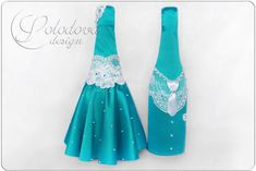 """Купить Декор на свадебные бутылки """"Свадебная мечта"""" - бирюзовый, свадебное украшение, свадебное, бутылки"""