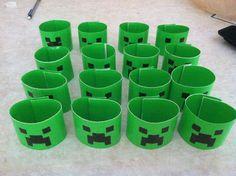 Minecraft bracelets. Used duct tape and sticky velcro. Huge hit.