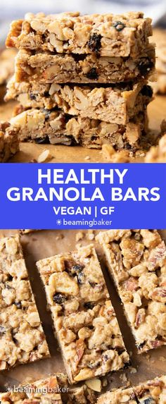 Healthy Granola Bars (V, GF): this healthy homemade granola bars recipe yields soft 'n chewy granola bars with a crunch! Refined Sugar-Free, Vegan, Gluten Free & made with wholesome nuts and fruits. #GranolaBars #Healthy #Vegan #GlutenFree #Snacks | Recipe at BeamingBaker.com High Protein Recipes, Healthy Dessert Recipes, Healthy Baking, Vegan Desserts, Snack Recipes, Vegan Food, Healthy Snacks, Baker Recipes, Vegan Baking