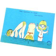 "Les France 60's Collection. Lefor Openo postcard ""Nous explorons les fonds sous-marins.""  *ルフォール・オプノ 古いポストカード"