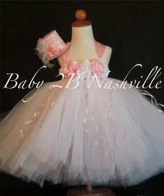 Tulle Flower Girl Dress in Pink and White 56T by Baby2BNashville