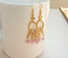 Bridal Gold Earrings Dangle Earrings Wedding by yshtainberg, $28.00