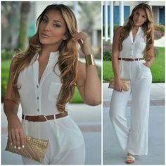 The perfect jumpsuit! ME WANT IT! hotmiamistyles.com Hot Miami Styles, Types Of Fashion Styles, Casual, Ideias Fashion, White Dress, Cute Outfits, Hair Beauty, Classy, Plus Size