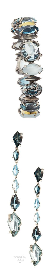Alexis Bittar Fine Midnight Marquise Earrings with London Blue Topaz & Quartz |  LOLO❤