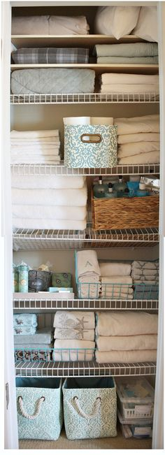 a Linen Closet linen closet revamp with Kirkland's pretty storage pieces. The Creativity Exchangelinen closet revamp with Kirkland's pretty storage pieces. The Creativity Exchange Linen Closet Organization, Closet Storage, Bathroom Organization, Storage Organization, Bathroom Ideas, Bathroom Storage, Storage Ideas, Pantry Storage, Design Bathroom