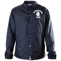 BAPE College Coach Jacket (Black) ❤ liked on Polyvore featuring a bathing ape