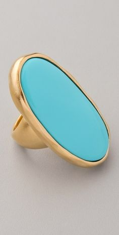 Kenneth Jay Lane Satin Gold and Turquoise Oval Ring - StyleSays