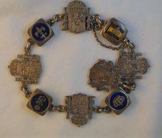 Sterling Silver Enameled Spanish Coat of Arms Charm Bracelet
