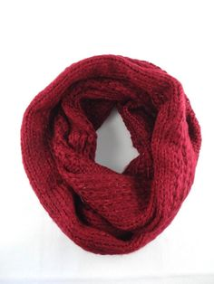 Burgundy knit infinity scarf bulky loop cowl snood head wrap #Unbranded #Infinitycowlsnood #AnyOccasion