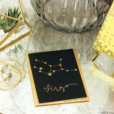VIRGO ZODIAC GREETING CARD WITH METALLIC FLASH TATTOOS