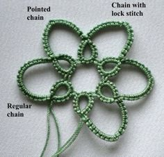 "Tat-a-Renda: Pointed Chain different ways to create ""pointed"" chain petals."