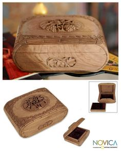 Wooden Jewelry Chest Hand Carved Walnut Wood Jewelry Box India