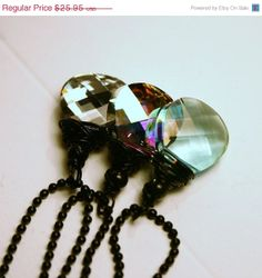 ON SALE Long Crystal Drop Necklace ... Choose Your Color ... 15mm Brios on Black - Metallic Silver, Minty Green, Pastel Rainbow