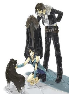 """Rinoa and Squall... """"put on your damn coat, woman, it's snowing!"""" lol I love that =p"""