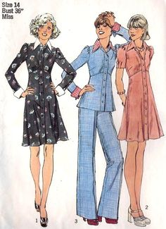 Puffed sleeves and long pointy collars | 1974 sewing pattern fashion illustrations.
