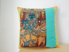 Hand Painted Kalamkari Pillow , cute!