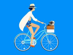 Cruisin' by Down the Street Designs Bicycle Illustration, People Illustration, Character Illustration, Illustration Art, Character Sketches, Art Illustrations, Gifs, Bicycle Art, Motion Design