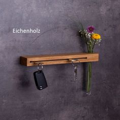 Key board with flower vase // key hook // different variants // wood // gifts for women // handmade // key holder - Handmade key rack with flower vase // key hook External Staircase, Different Types Of Wood, Wooden Staircases, Key Rack, Key Hooks, Chic Living Room, Wood Gifts, Wall Key Holder, Wall Mounted Key Holder