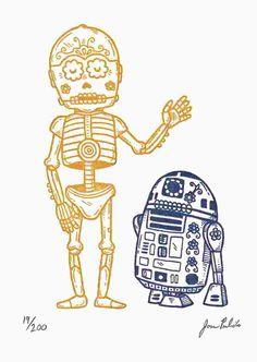 Calaveras de C3PO y R2D2 por José Pulido