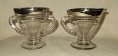 Hazel Atlas Ovide with Platinum Bands Sugar and Creamer set by LovesVintageFinds, $15.00