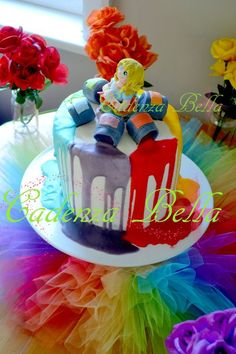Art Party Birthday Cake Ideas   rainbow art party cadenza bella party pack d