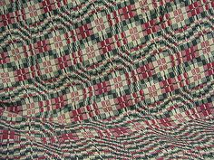 Vintage 20th Century, Red, Blue & off-White Coverlet; Kentucky Coverlet