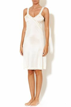 "Best selling slim cut, longer style slip (3"" longer than Ava slip) typically hits just above the knee, soft lace trim.   Ava Long Slip by Sarah Bibb. Clothing - Lingerie & Sleepwear - Sleepwear Portland, Oregon"