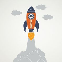 Rocket Wall Decal Sticker Outer Space Launch Boy by graphicspaces, $60.00
