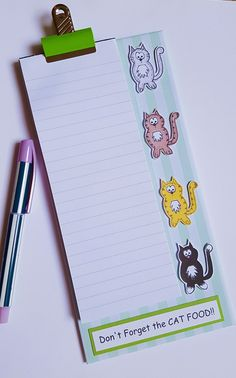 Magnetic Grocery List Notepad  Cats  by CraftyMushroomCards