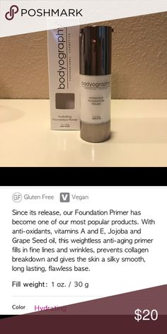 Bodyography Hydrating Foundation Primer Brand new in box. Vegan and gluten free professional cosmetics company. See pics for description. Bodyography Makeup Face Primer