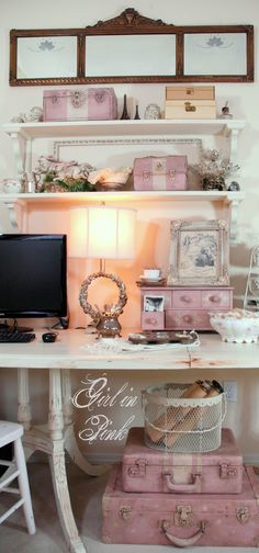 One Girl In Pink - Creative Space - Repurposed Organization Pieces in Antoinette and Old White
