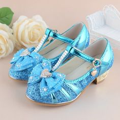 2016 Children Princess Sandals Kids Girls Wedding Shoes High Heels Dress Shoes Bowtie Party Shoes For Girls Blue T-Strap Shoes