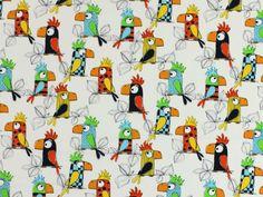 Baumwollstoff lustige Papageien, 82123-902,  bei stoffe-hemmers.de, Schöner Baumwollstoff mit bunten Papageien, ideal für tolle Bekleidungs-