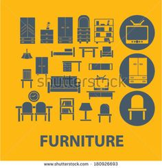 furniture icons, buttons, symbols, buttons isolated set, vector on background by VectorForever, via Shutterstock