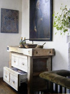 antique butcher block turned into a drawer fridge.