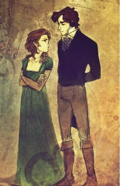 Elizabeth Bennet and Mr. Darcy. This picture basically depicts their relationship for most of the movie