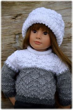"""THIS LISTING IS FOR ONE DIGITAL PDF VERSION OF THE PATTERN ONLY NOT THE OUTFIT Designed to fit: Slim 18"""" all vinyl dolls like my model Lena, from the Kidz 'n' Cats series with a head circumference of 11""""(28 cm) Whidbey is a Gansey inspired long sleeved textured stitch sweater and hat pattern for dolls. The sweater also features back-buttoned closure for easy dressing, and the matching watch cap hat features a turned up ribbed stitch brim. Whidbey ~ was inspired by both my love of the…"""