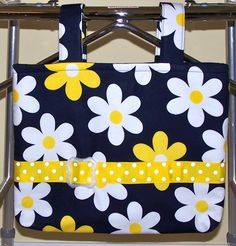 Fresh as a Daisy - lovely bag for walker or wheelchair. Sewing Tutorials, Sewing Crafts, Sewing Projects, Sewing Patterns, Walker Accessories, Wheelchair Accessories, Walker Bags, Nursing Home Gifts, Stroller Bag