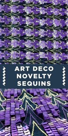 Purple and Teal Art Deco Novelty Square Sequins on Silk Chiffon