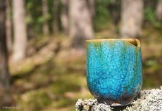 "Pottery in the woods ;) Small cup made on a wonderful pottery workshop - wheel thrown of white clay, fired in a gas kiln, glazed with a beautiful turquoise glaze and fired again in ""raku"" reduction. #pottery #handmade #clay #glaze #glazed #reduction #raku #turquoise #woods #cerámica #esmalte"