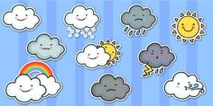 Bring lessons on the weather and climate to life with these great weather symbols cut outs! Symbols for sunny, cloudy, rainy, hail and more. Weather Activities, Writing Activities, Weather Science, Preschool Activities, Classroom Walls, Classroom Displays, Classroom Ideas, Weather Words, Weather Seasons