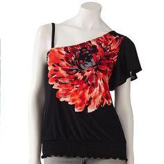 IZ Byer California Asymmetrical Floral Top