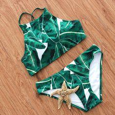 KayVis 2016 Col Haut Bikini Vert Maillot de Bain Feuille Imprimer Bikinis Femmes Maillots De Bain Sexy Bikini Brésilien Ensemble Rembourré Vêtements De Plage