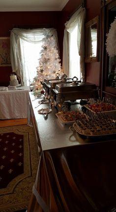 Brunch buffet set on a metallic tablecloth. Shimmery & pretty.