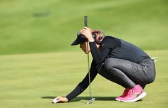 Michelle Wie of USA lines up a putt during the second round of the Evian Championship Golf on September 11 2015 in EvianlesBains France