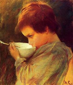 Mary Cassatt, American painter and printmaker (1844 – 1926). 'Child Drinking Milk'