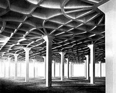 Gatti Wool Factory (Rome, by Pier Luigi Nervi Contemporary Architecture, Amazing Architecture, Architecture Details, Interior Architecture, Pier Luigi Nervi, Column Structure, Concrete Structure, Le Corbusier, Autocad