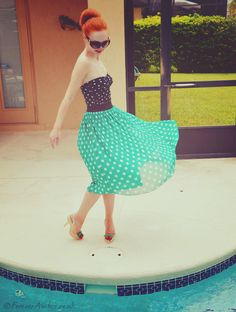 Green Forever 21 skirt and George retro swimsuit    #fashion #outfit #polka dots #redhead #swimwear