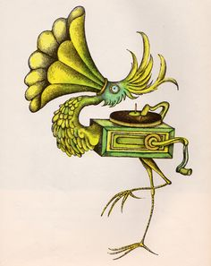 The Gramophone Gullfinch, illustration from The Ice Cream Cone Coot and Other Rare Birds by Arnold Lobel. Art And Illustration, Children's Book Illustration, Book Illustrations, Tattoo Drawings, Art Drawings, Tattoo Ink, Dali Tattoo, Tattoos, Arnold Lobel